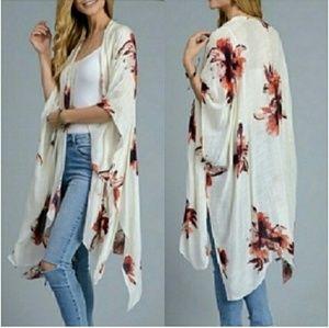 Tops - Boho floral kimono duster - CREAM